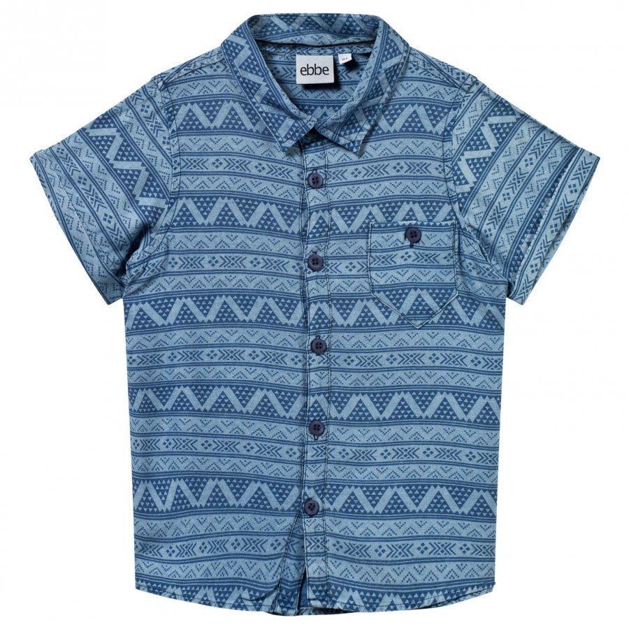 Ebbe Kids Ss Miko Shirt Small Blue Inka Kauluspaita