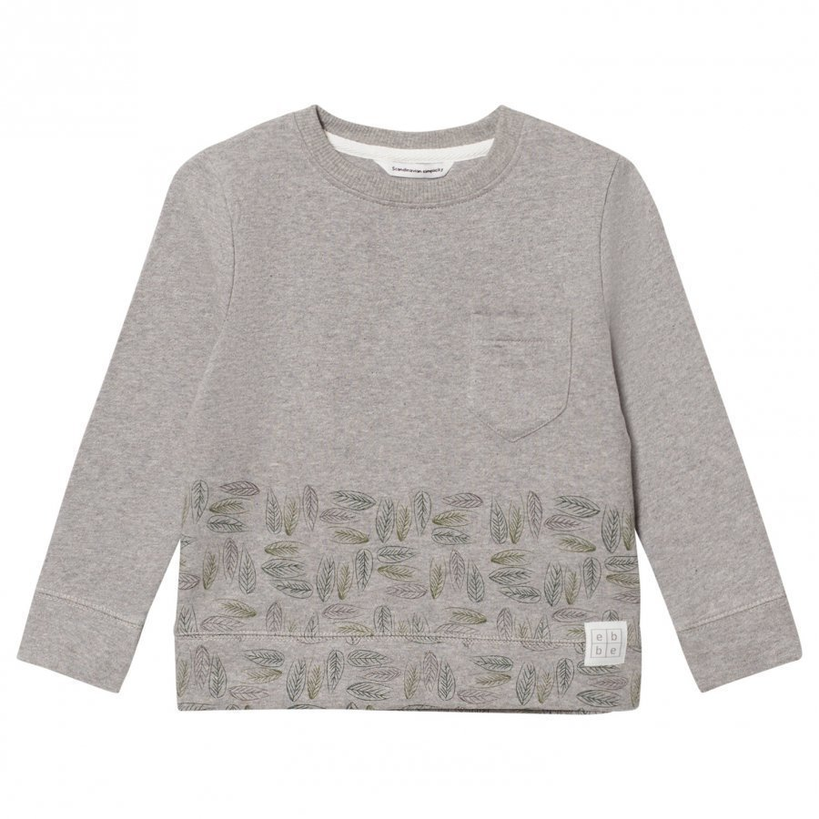 Ebbe Kids Urban Sweatshirt Grey Placed Leafs Oloasun Paita