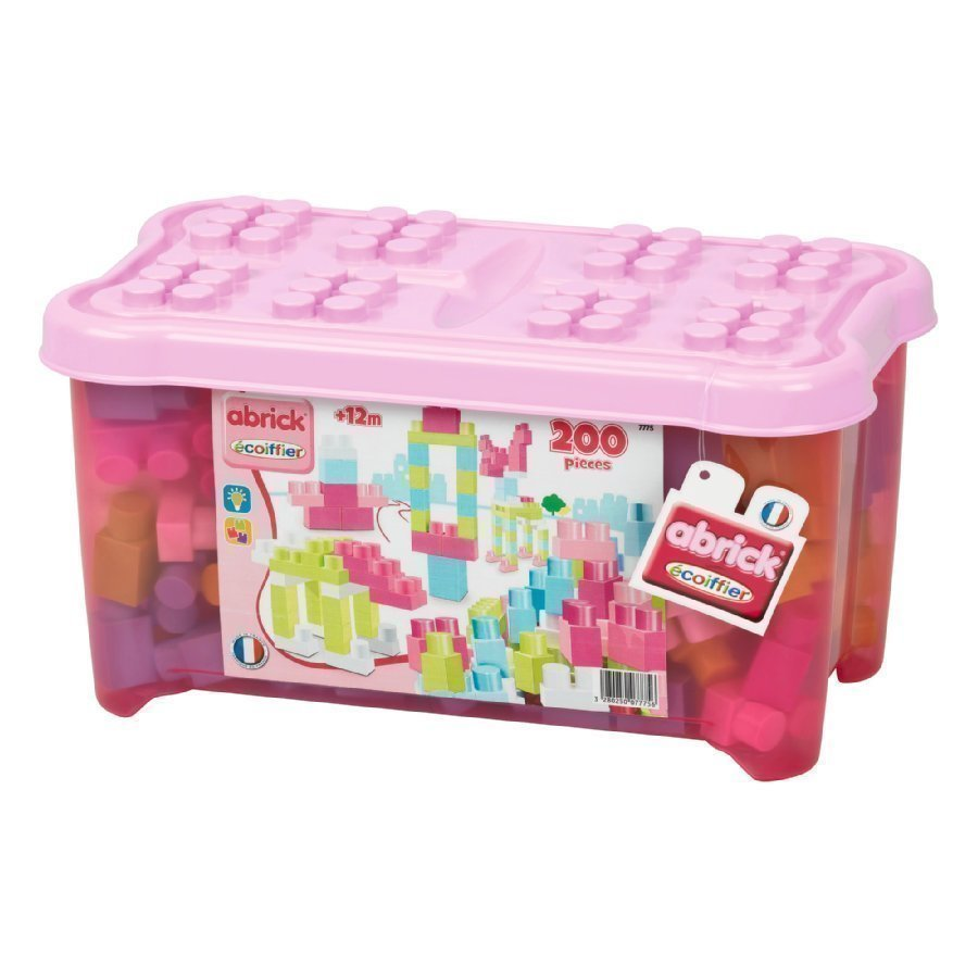 Ecoiffier Abrick Rakennuspalikat + Laatikko 200 Palikkaa Vaaleanpunainen