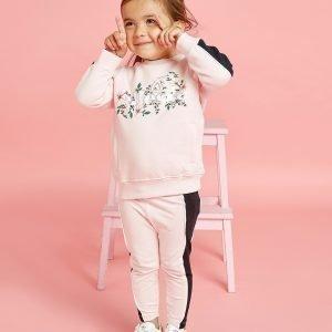 Ellesse Girls' Crocus Crew Sweatshirt / Legging Set Infant Vaaleanpunainen