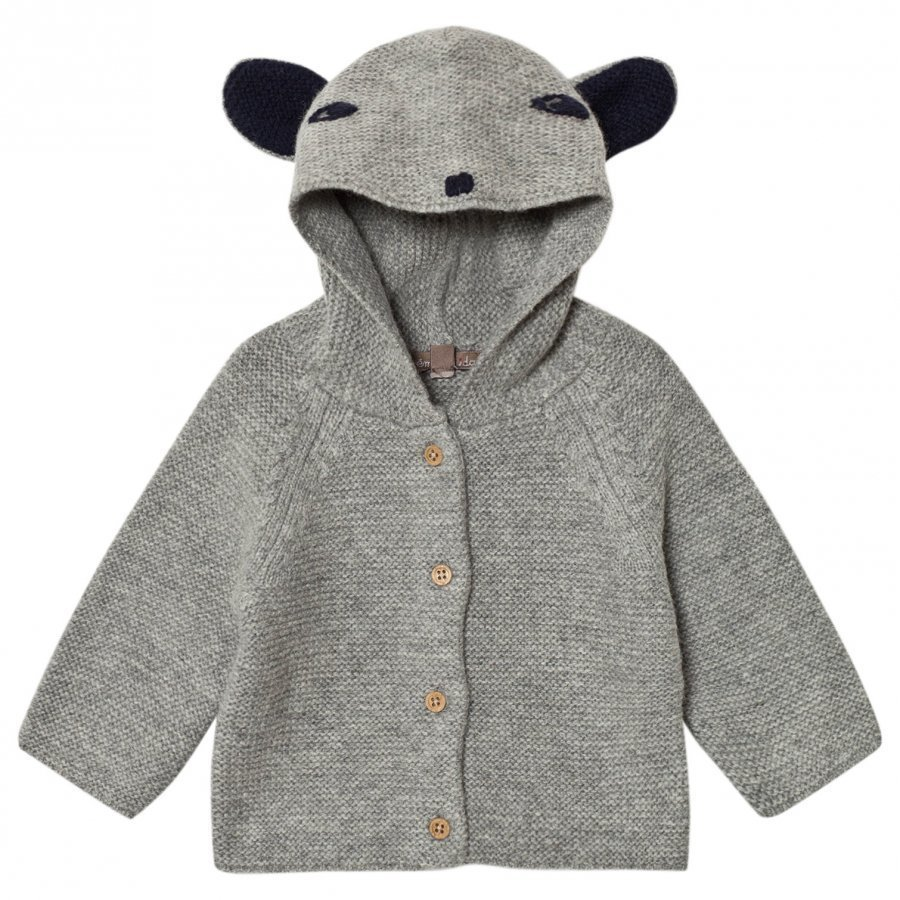 Emile Et Ida Knitted Cardigan With Animal Hood Gris Chine Neuletakki