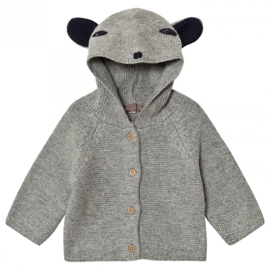 Emile Et Ida Knitted Cardigan With Animal Hood Gris Chine Neuletakki