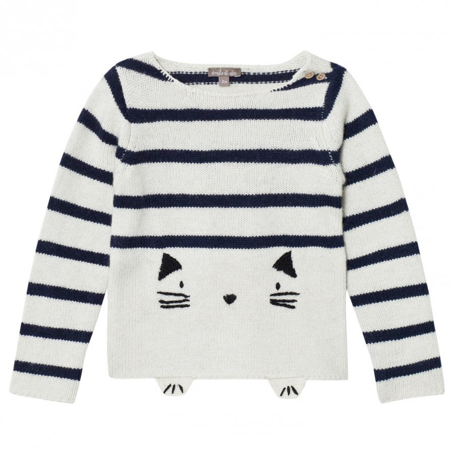 Emile Et Ida Knitted Cat Detail Sweater Ecru Paita