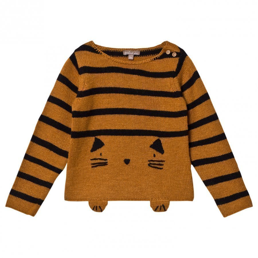 Emile Et Ida Knitted Cat Detail Sweater Gato Paita
