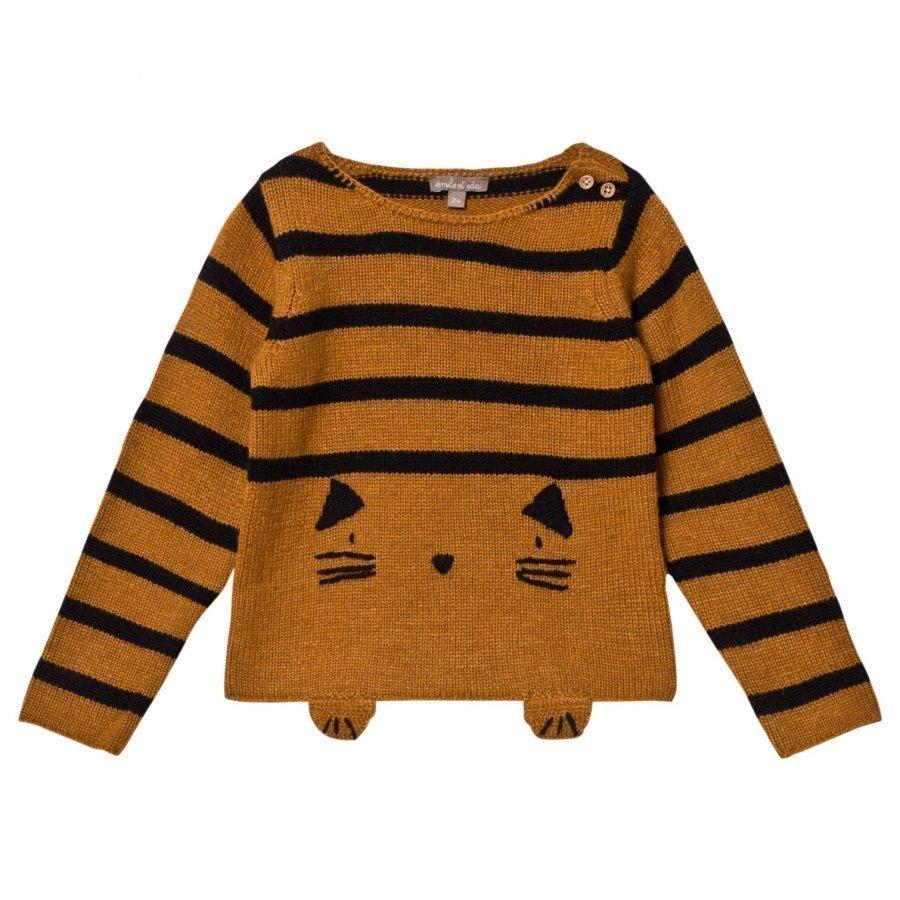 Emile Et Ida Knitted Cat Detail Sweater Gato Paita