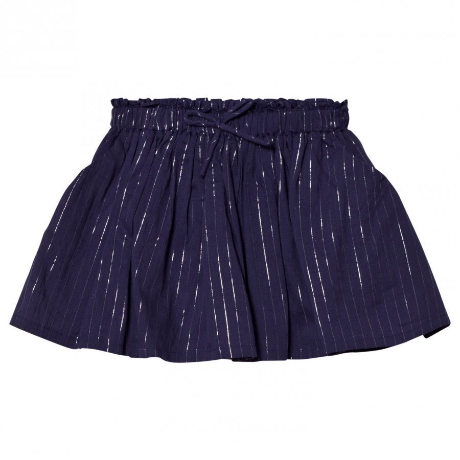Emile Et Ida Skirt With Glitter Stripes Marine Midihame