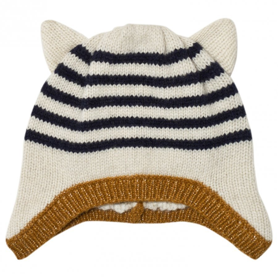 Emile Et Ida Striped Hat With Ears Ecru Pipo
