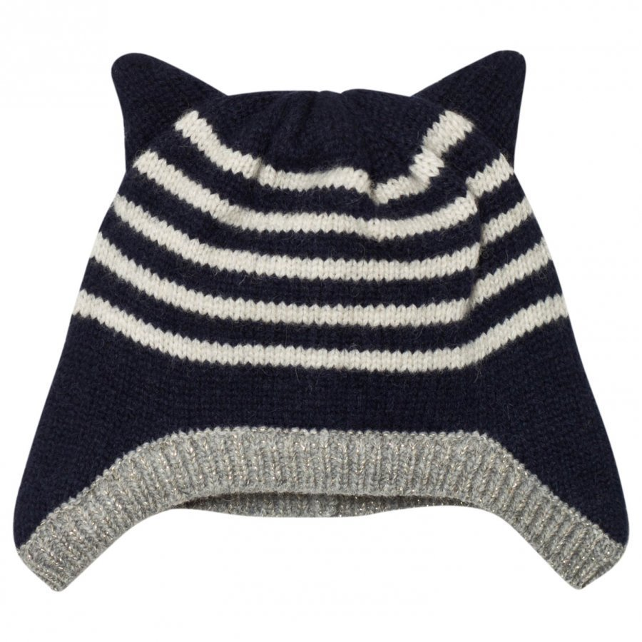 Emile Et Ida Striped Hat With Ears Marine Pipo