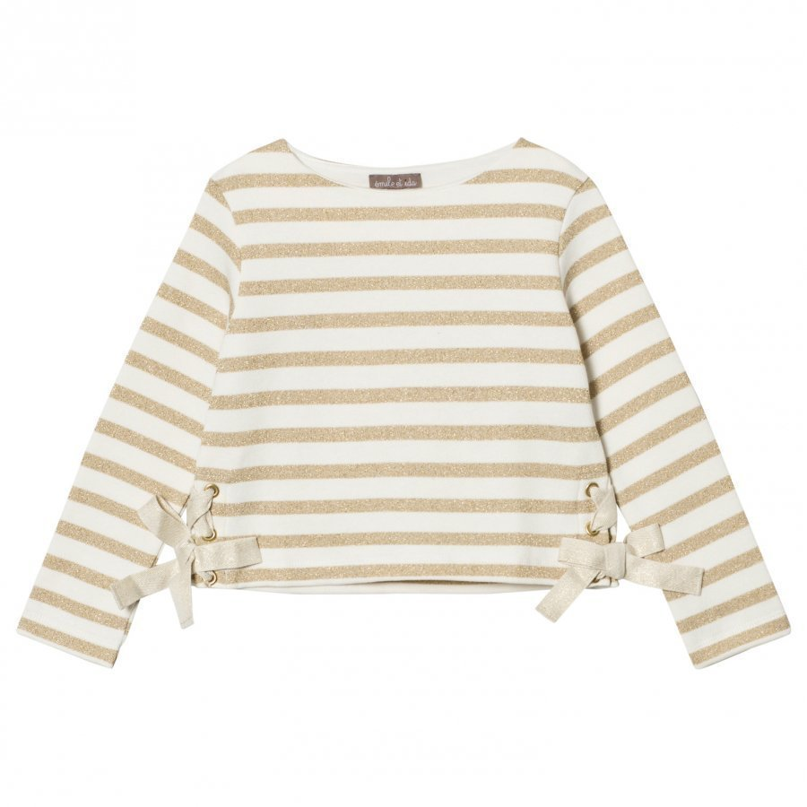 Emile Et Ida Striped Sweater Ecru/Gold Paita