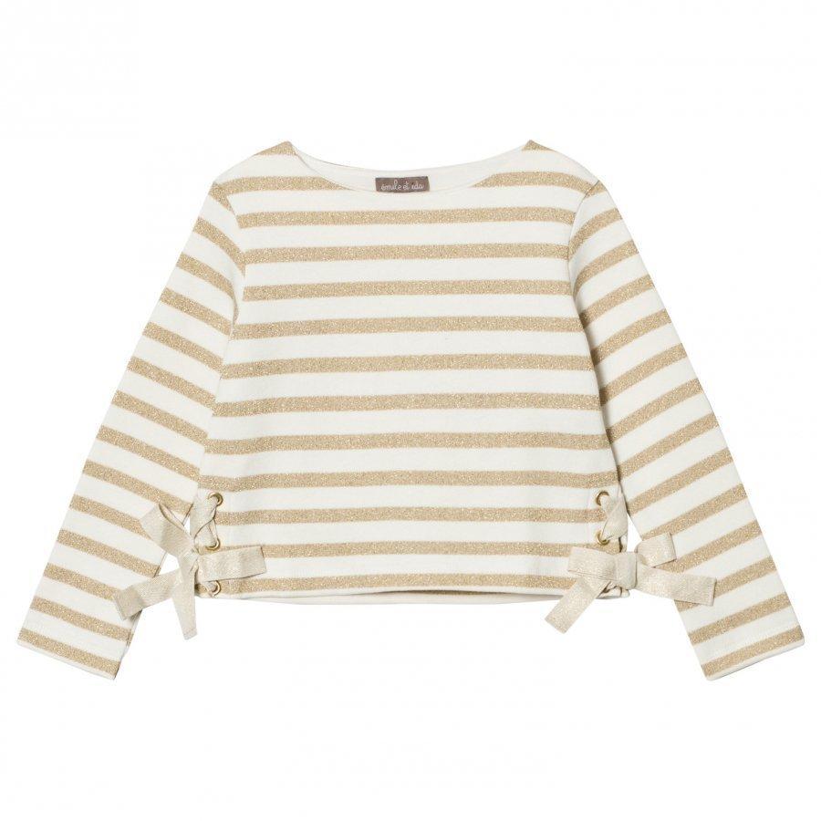 Emile Et Ida Striped Sweater Ecru/Gold Paita