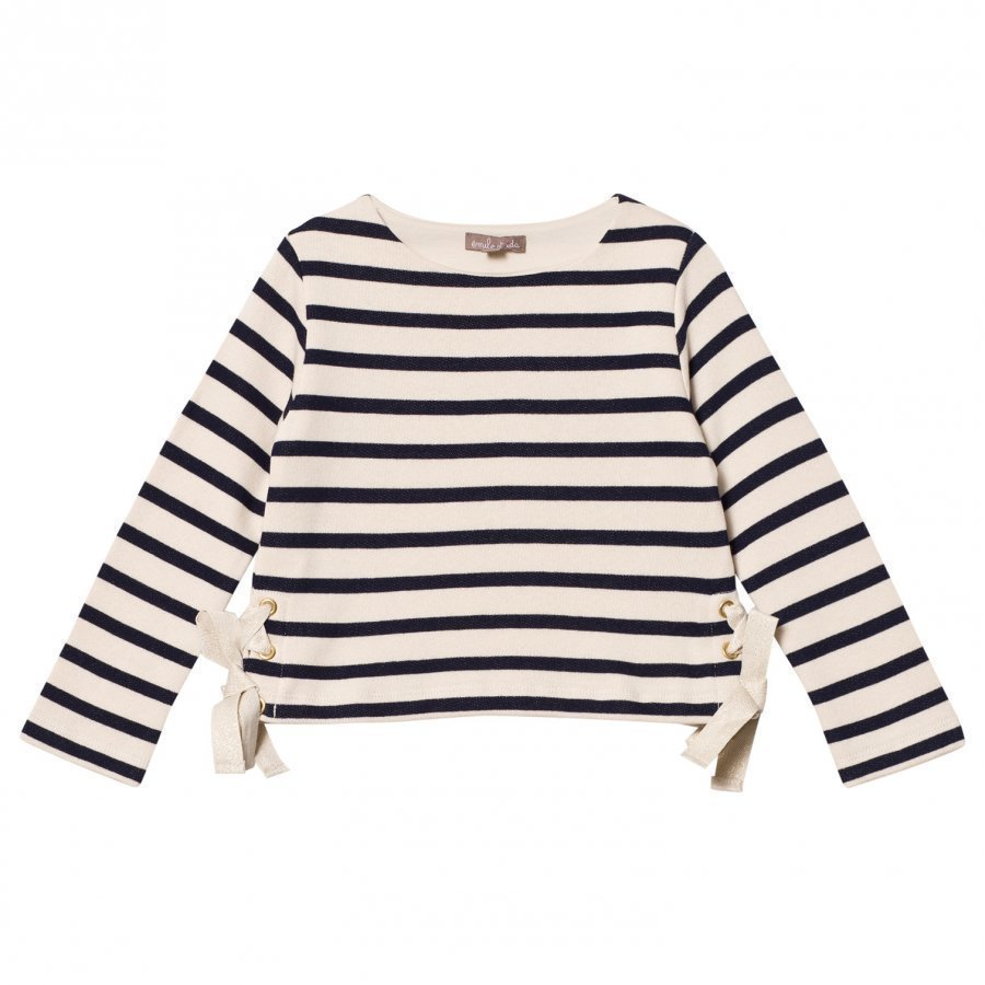 Emile Et Ida Striped Sweater With Bow Details Marine/Ecru Paita