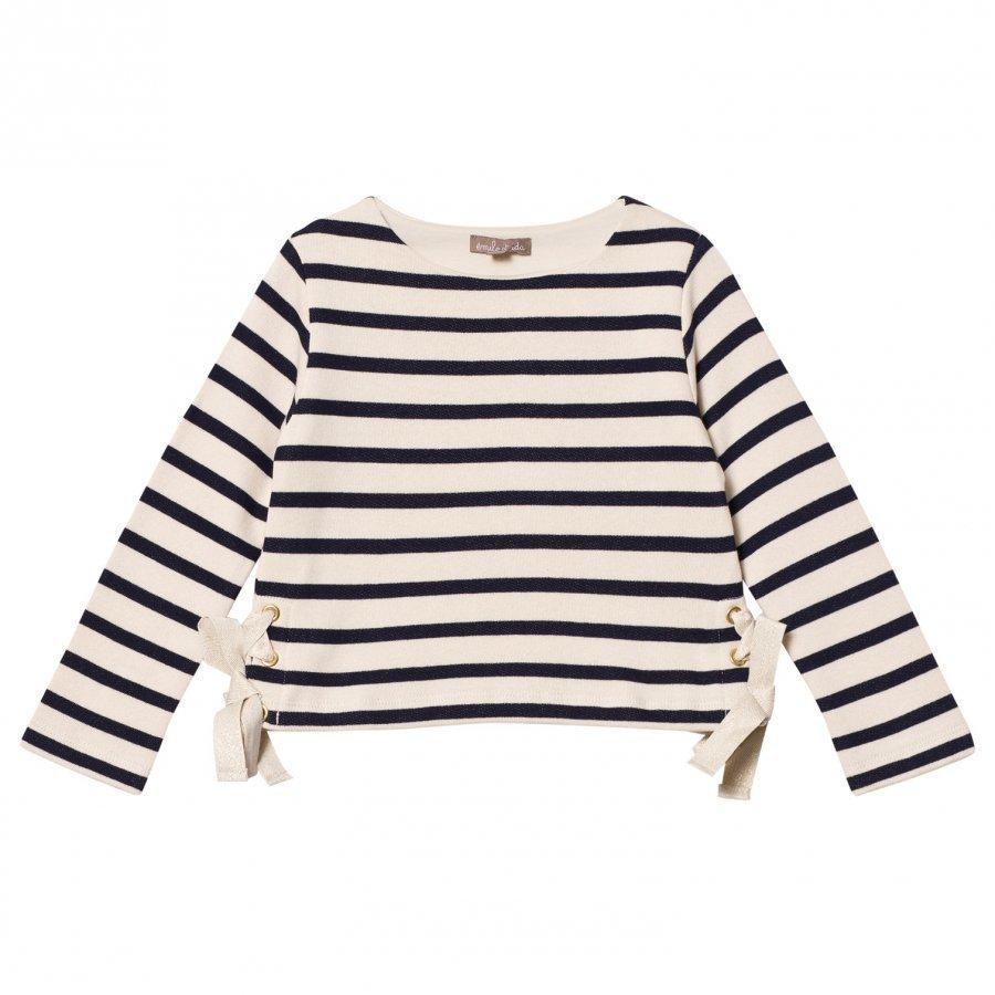 Emile Et Ida Striped Sweater With Bow Details Marine/Ecru Paita