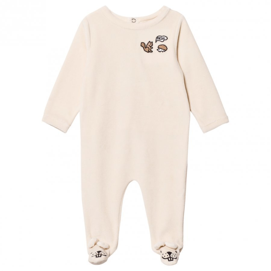 Emile Et Ida Velour Footed Baby Body Ecru Kokopuku