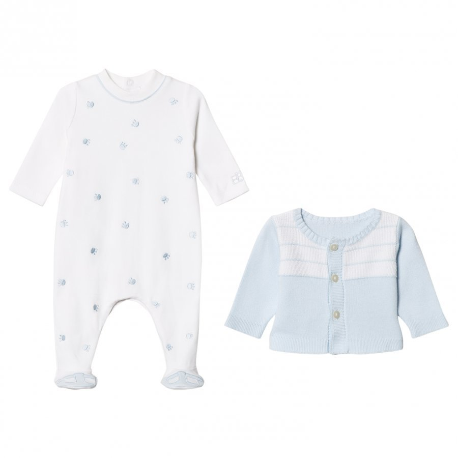 Emile Et Rose Blue Cardigan And White Footed Baby Body Set Body