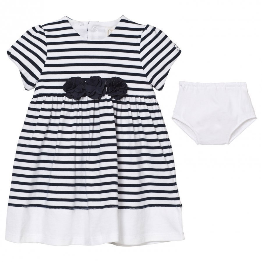 Emile Et Rose Kiki White And Navy Stripe Dress With Knickers Juhlamekko