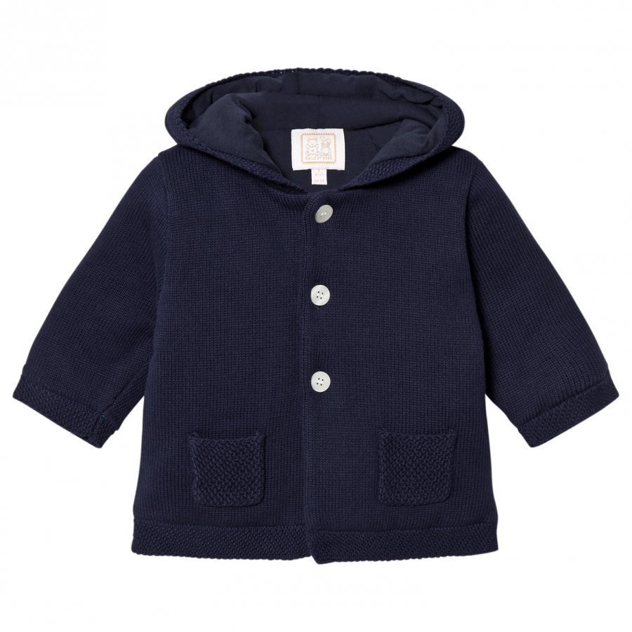 Emile Et Rose Lachlan Navy Knit Hooded Jacket Huppari