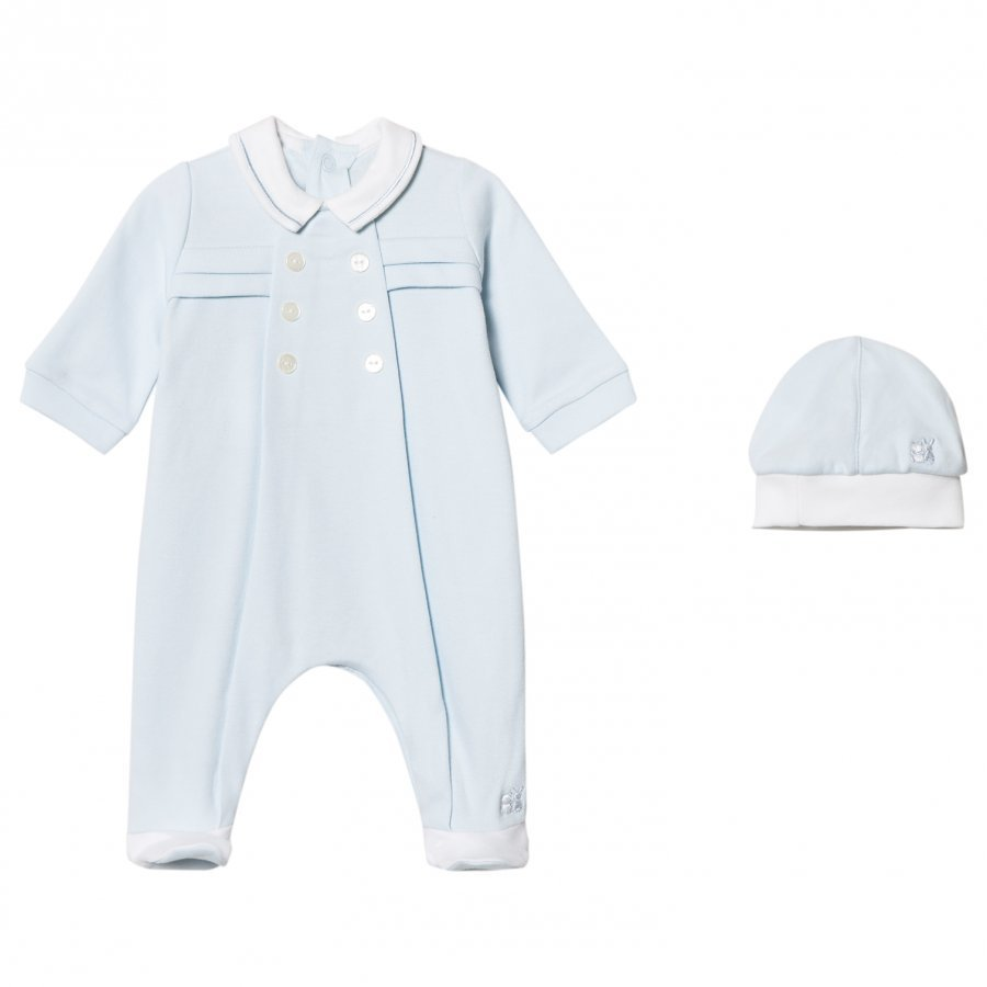Emile Et Rose Lance Footed Baby Body And Beanie Set In Blue Body