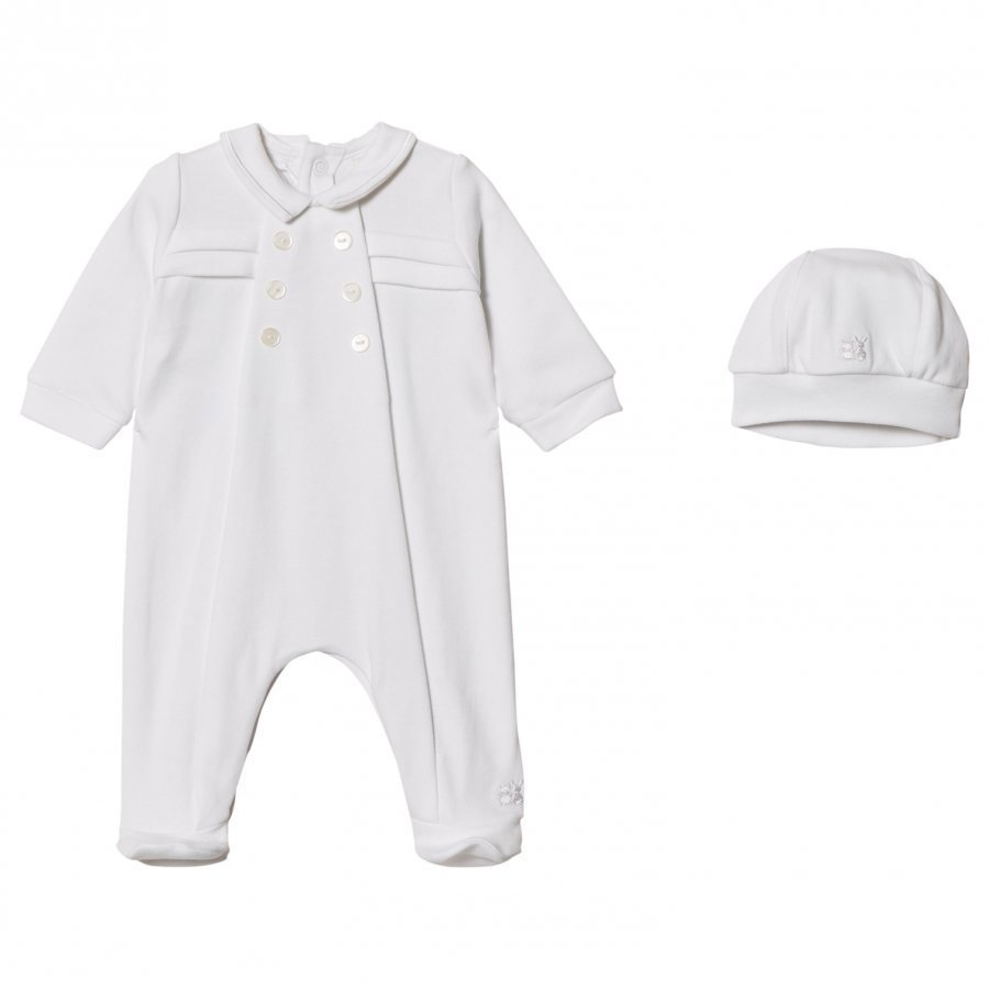 Emile Et Rose Lance Footed Baby Body And Beanie Set In White Body