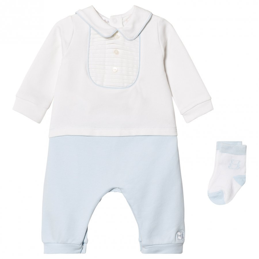 Emile Et Rose Langley One-Piece And Sock Set In Blue And White Asusetti