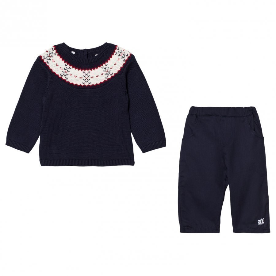 Emile Et Rose Lars Navy Fairisle Top And Pants Set Asusetti