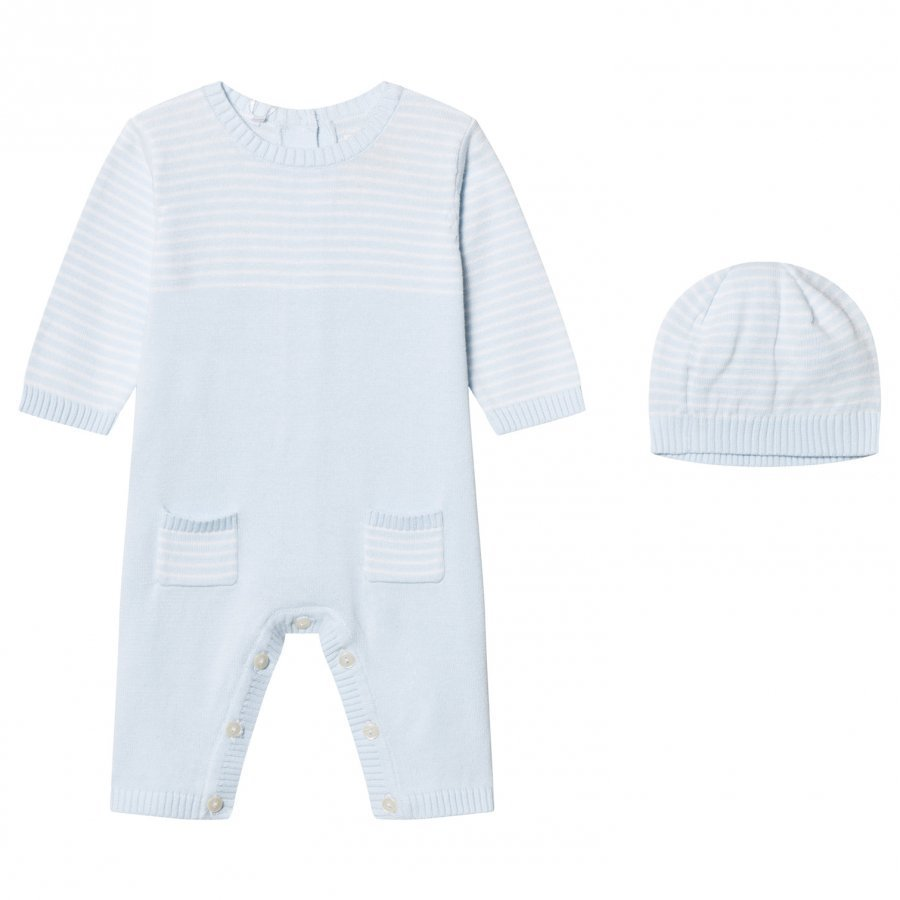 Emile Et Rose Leo One-Piece Knit And Beanie Set In Blue And White Body