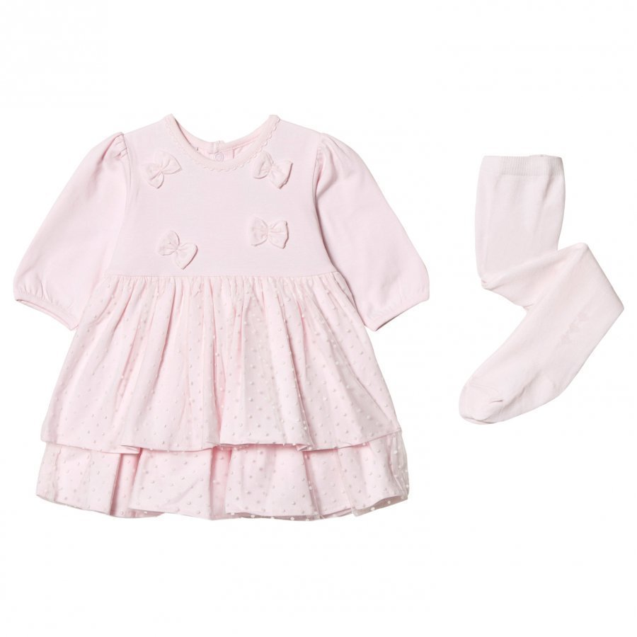 Emile Et Rose Lilah Pink Dress With Spot Detailing And Matching Tights Mekko