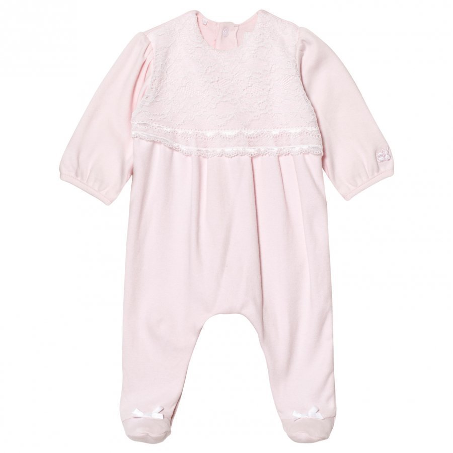 Emile Et Rose Louise Pink Lace Footed Baby Body