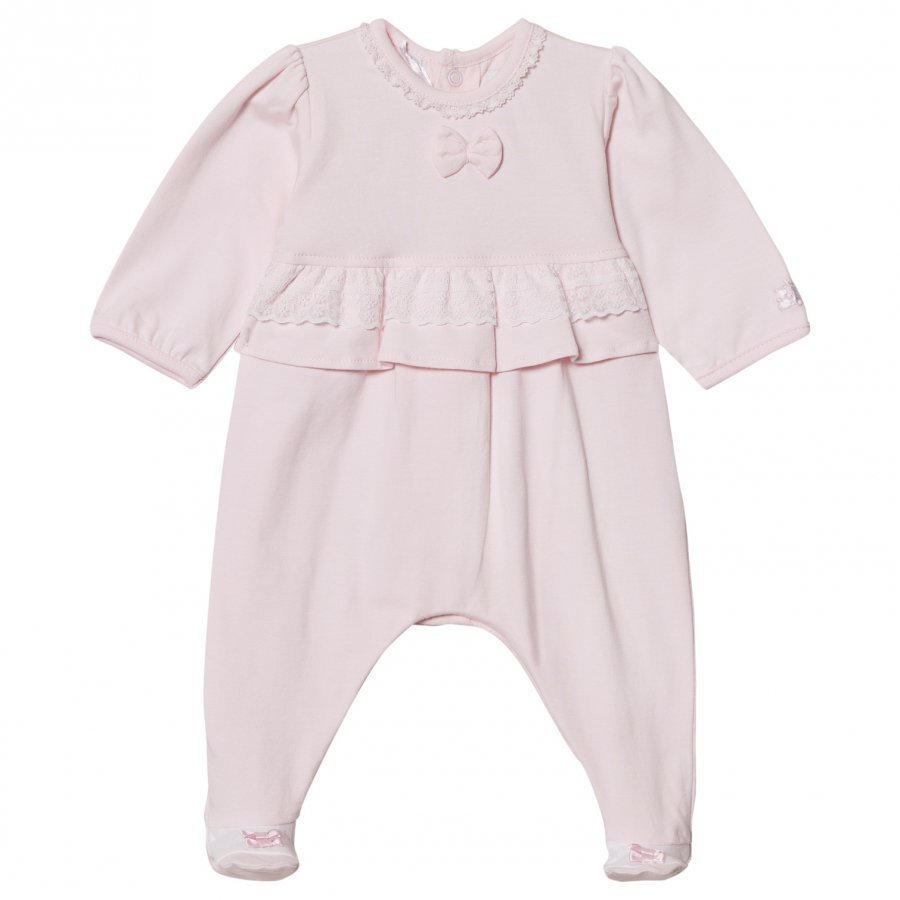 Emile Et Rose Lucia Pink Footed Baby Body With Lace Trim Body