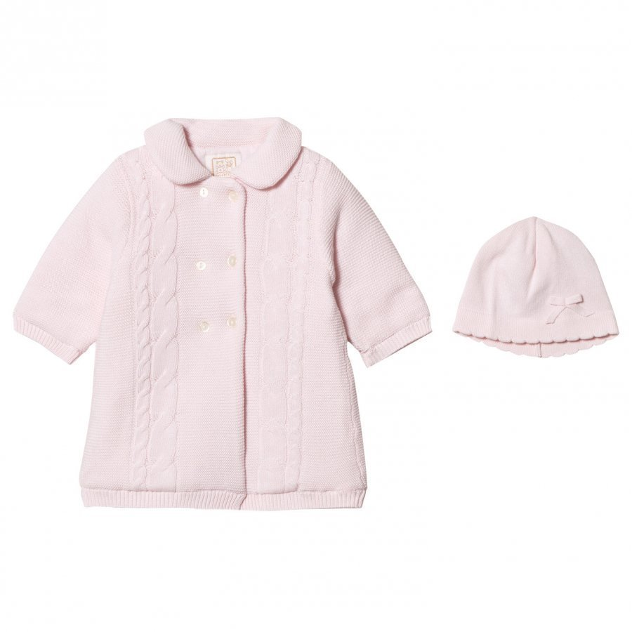 Emile Et Rose Lucy Pink Padded Knit Coat With Hat Toppatakki