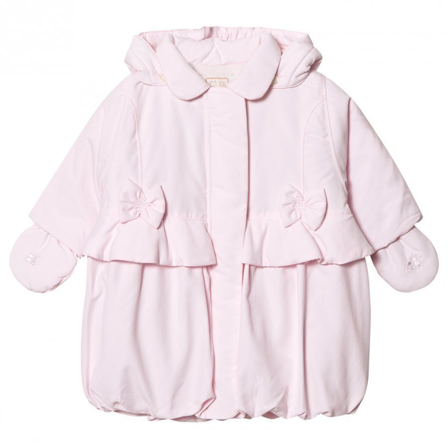 Emile Et Rose Pale Pink Padded Coat With Bows Toppatakki
