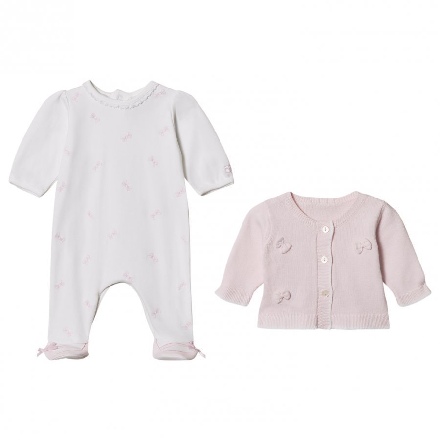 Emile Et Rose Pink Cardigan And White Footed Baby Body Set Asusetti
