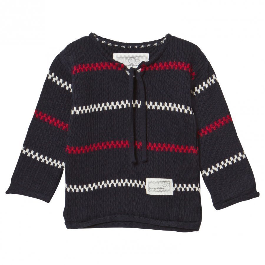 Emma Och Malena Knitted Käringö Sweater Navy Paita