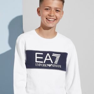 Emporio Armani Ea7 Colour Block Fleece Crew Sweatshirt Valkoinen