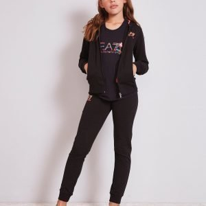 Emporio Armani Ea7 Girls' Hooded Fleece Suit Musta