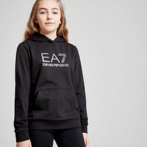 Emporio Armani Ea7 Girls' Training Logo Hoodie Musta