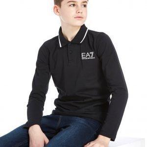 Emporio Armani Ea7 Long Sleeve Jersey Polo Shirt Musta