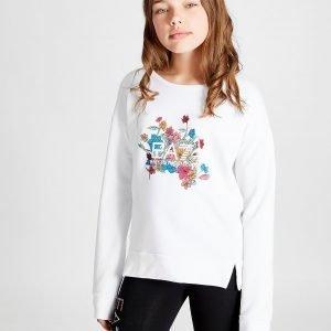 Emporio Armani Ea7 Tyttöjen Floral Fleece Crew Verryttelypaita Valkoinen