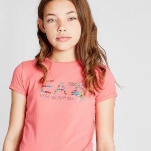 Emporio Armani Ea7 Tyttöjen Floral Logo T-Paita Vaaleanpunainen