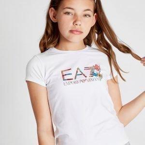 Emporio Armani Ea7 Tyttöjen Floral Logo T-Paita Valkoinen