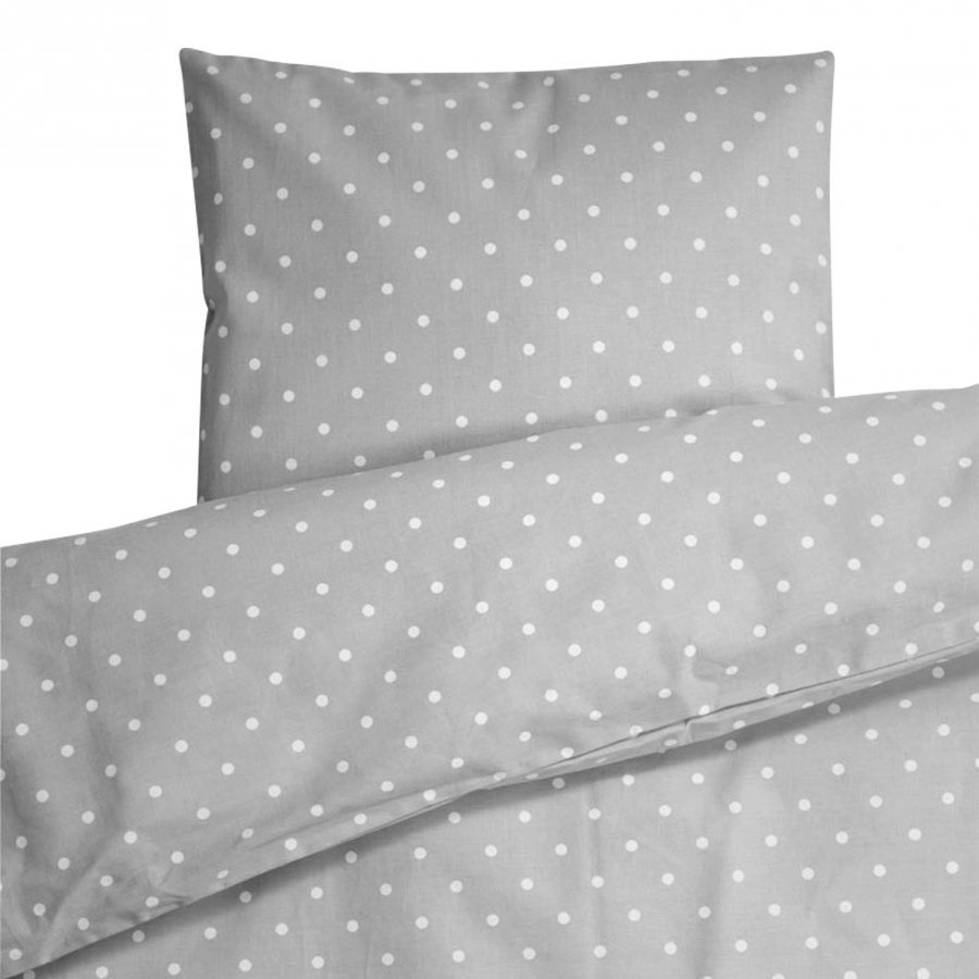 Färg & Form Grey Dots Bed Set Cot/Stroller Pussilakanasetti