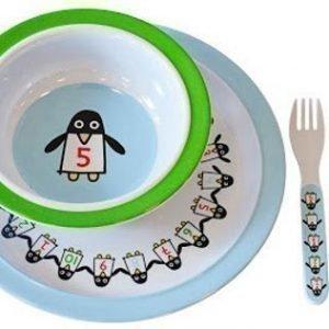 Färg & Form Penguin Pals Ruokailusetti melamiinia 4 osaa Sininen/Vihreä