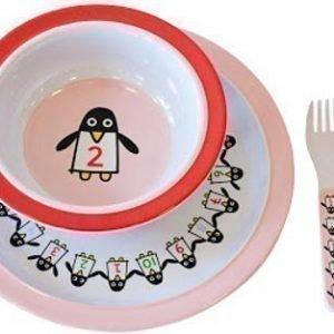 Färg & Form Penguin Pals Ruokailusetti melamiinia 4 osaa Vaaleanpun./Punainen