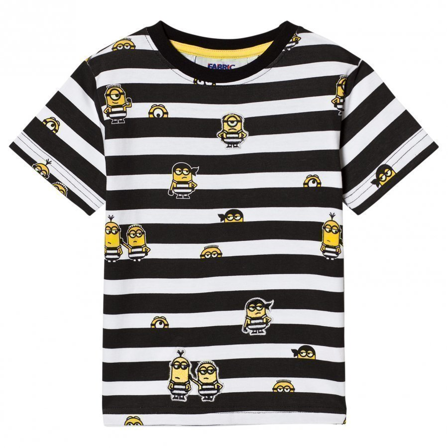Fabric Flavours Black And White Minions Jail Stripe T-Shirt T-Paita