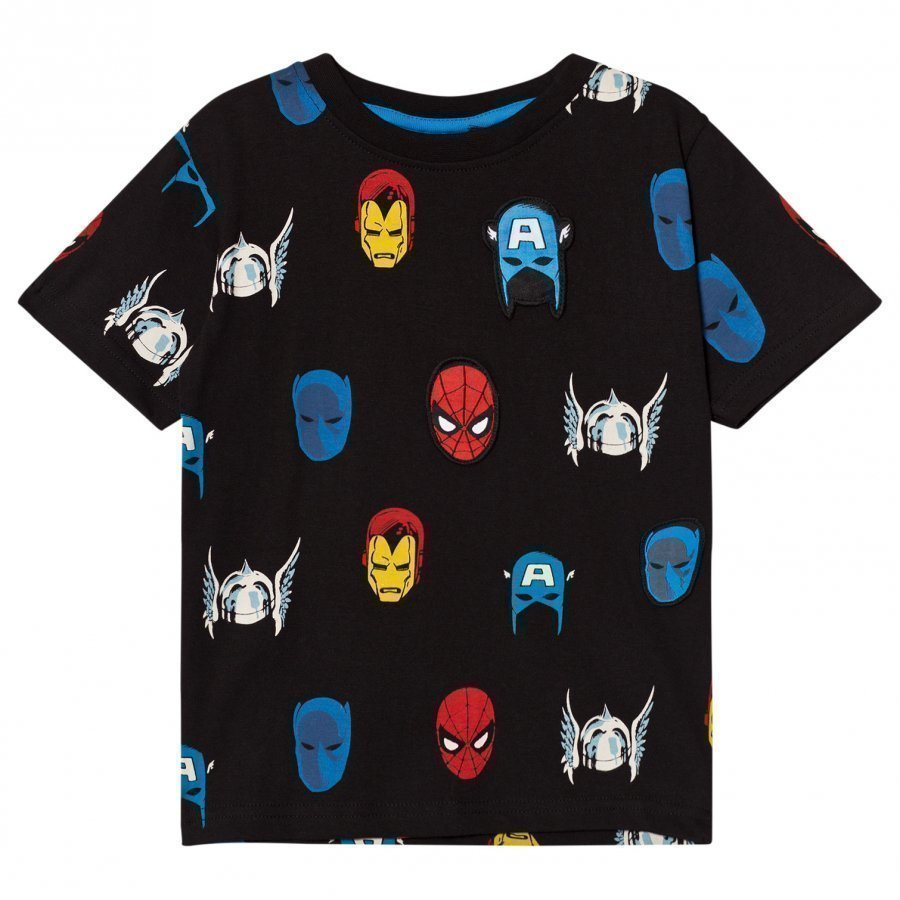 Fabric Flavours Black Marvel Heroes Repeat Print Tee T-Paita