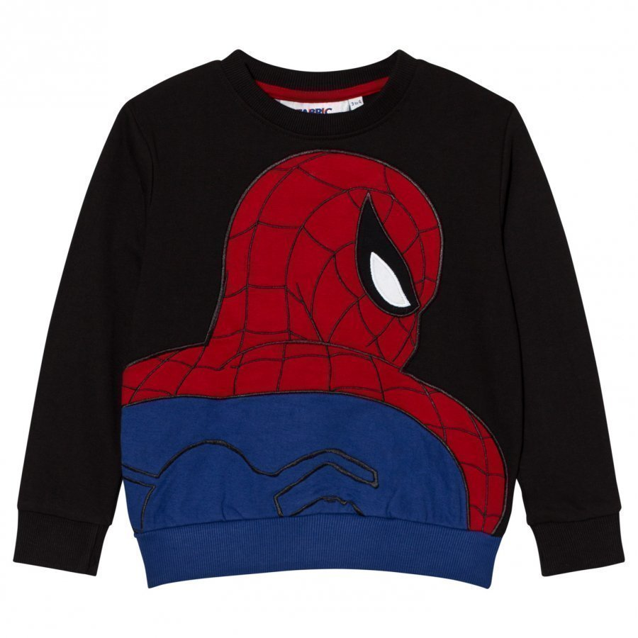 Fabric Flavours Black Spider-Man Applique Sweatshirt Oloasun Paita