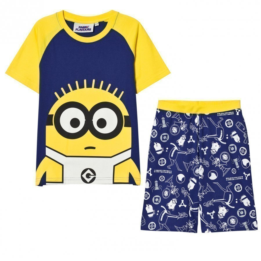 Fabric Flavours Blue And Yellow Minions Glow In The Dark Pyjamas Yöpuku