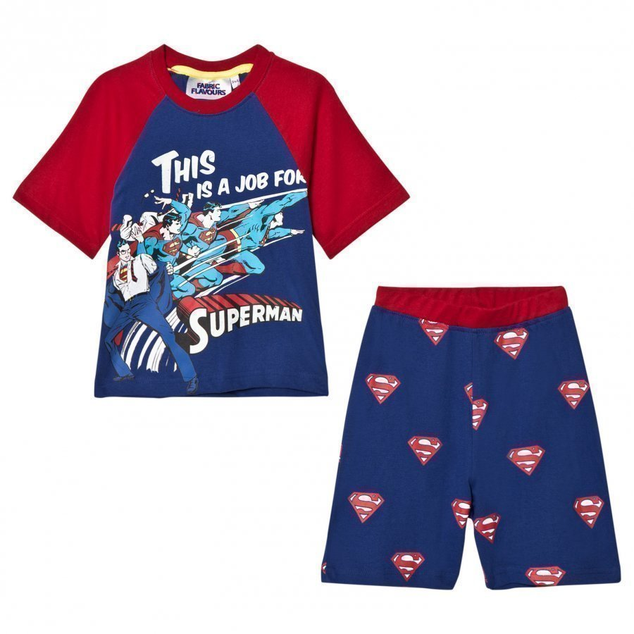 Fabric Flavours Blue/Red Superman Comic Pyjamas Yöpuku
