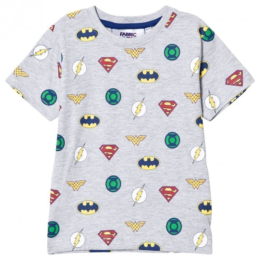 Fabric Flavours Grey Justice League Multi Logo Tee T-Paita