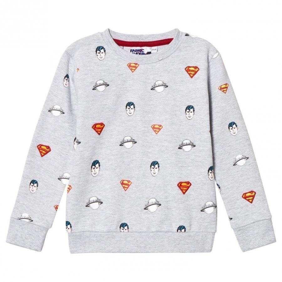 Fabric Flavours Grey Superman All Over Print Sweatshirt Oloasun Paita