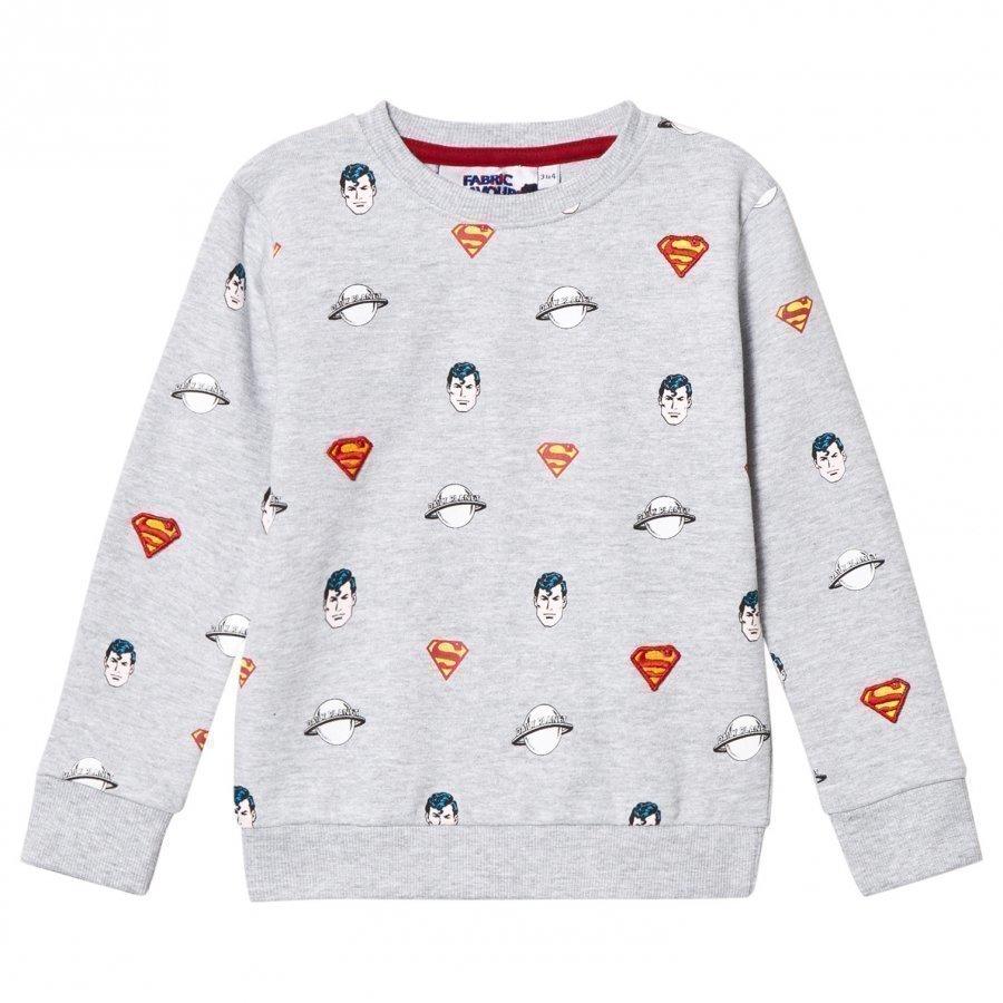 Fabric Flavours Grey Superman All Over Print Sweatshirt Oloasun Paita